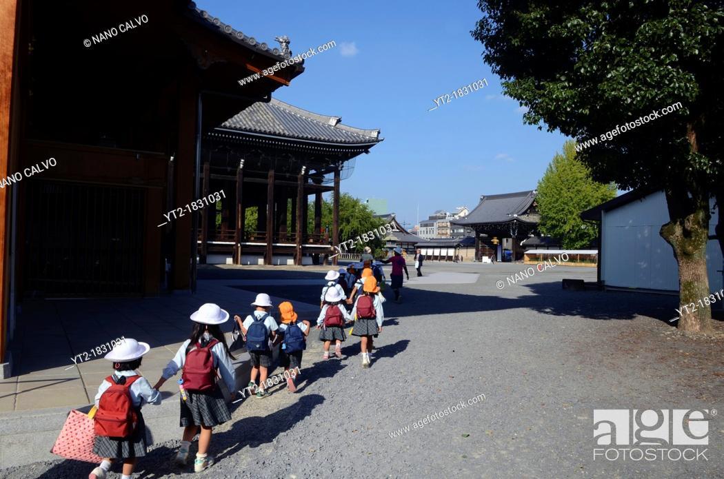 Stock Photo: Nishi Hongan-ji, Historic Monument of Ancient Kyoto and UNESCO World Heritage Site.