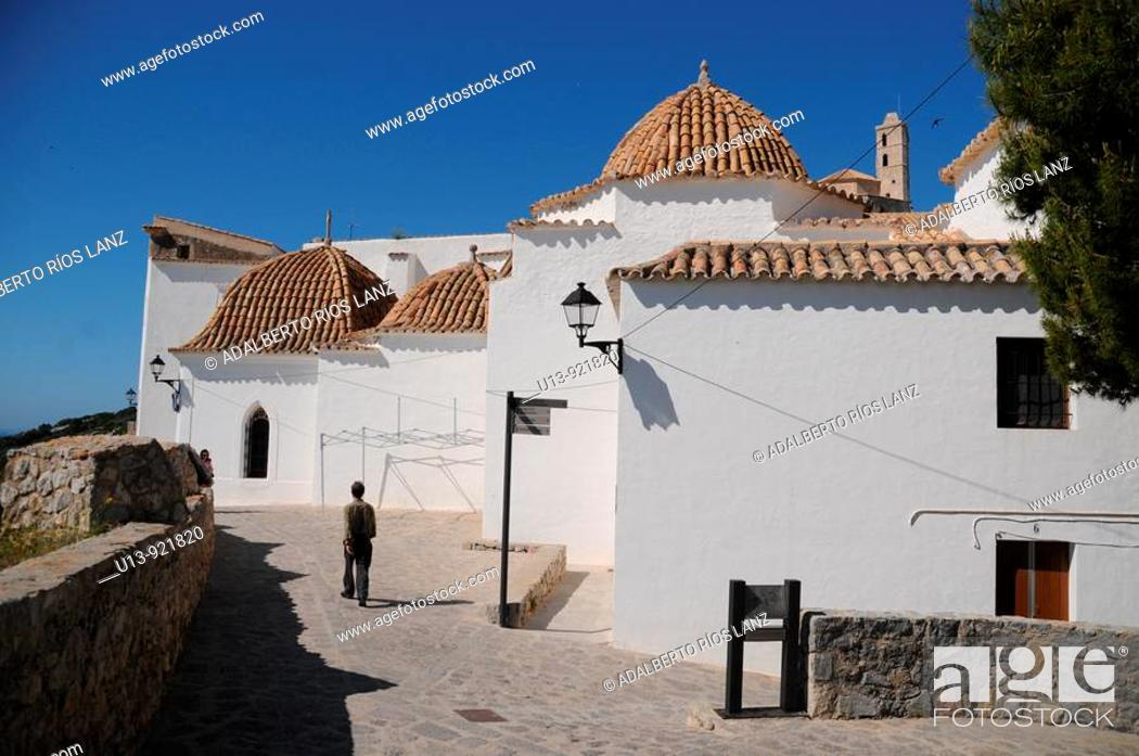 Stock Photo: Tiled Domes of the Ibiza City Hall and Santo Domingo Convent, Old Town, Ibiza, Baleares Islands, Spain.