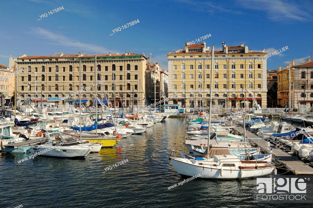Imagen: Quay or Quai Rive Neuve Old Port or Vieux Port Marseilles or Marseille Bouches-du-Rhône Provence France.