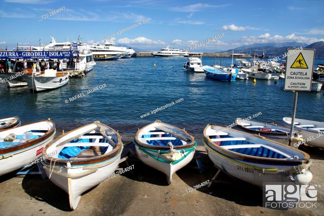 Stock Photo: Island of Capri (Italy). Boats in the port of Marian Grande on the island of Capri.