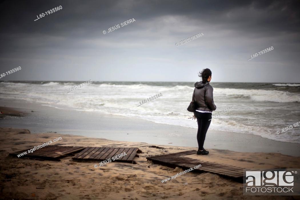 Stock Photo: Girl in Matalascañas beach, Huelva province, Andalusia, Spain.