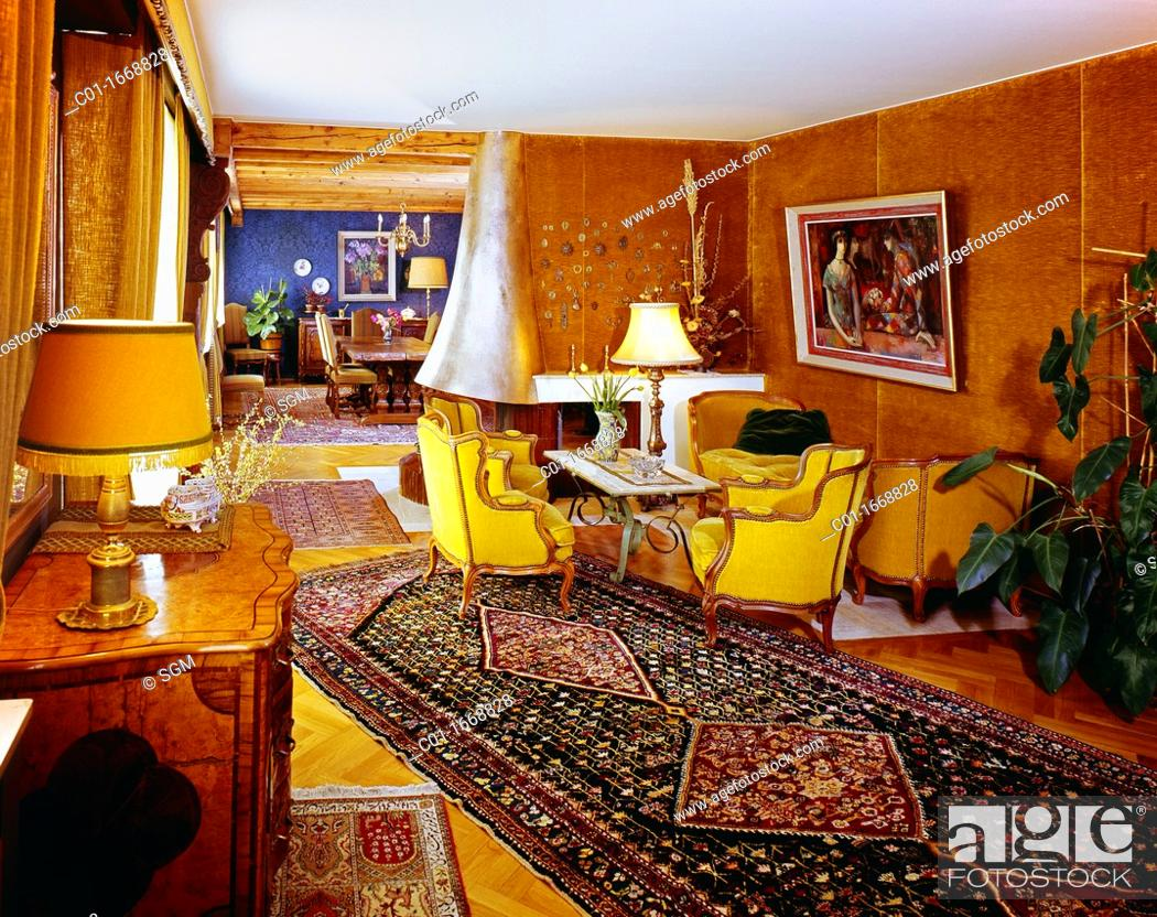 1970s Luxury Living Room Stock Photo Picture And Rights Managed