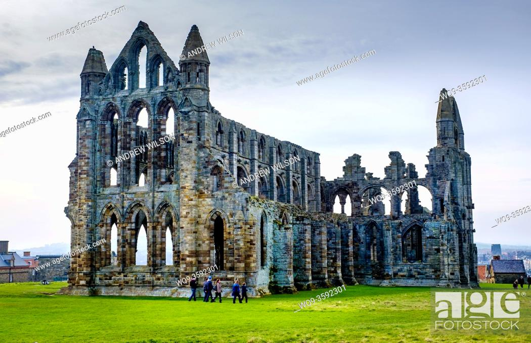 Stock Photo: Whitby Abbey - a ruined Benedictine Abbey overlooking the North Sea on the East Cliff above Whitby in North Yorkshire, England.