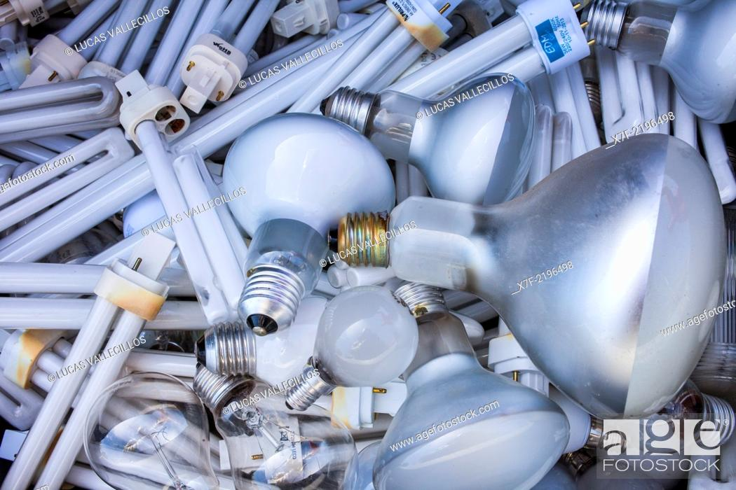 Stock Photo: lamps for disposal at a recycling yard, recycling center.