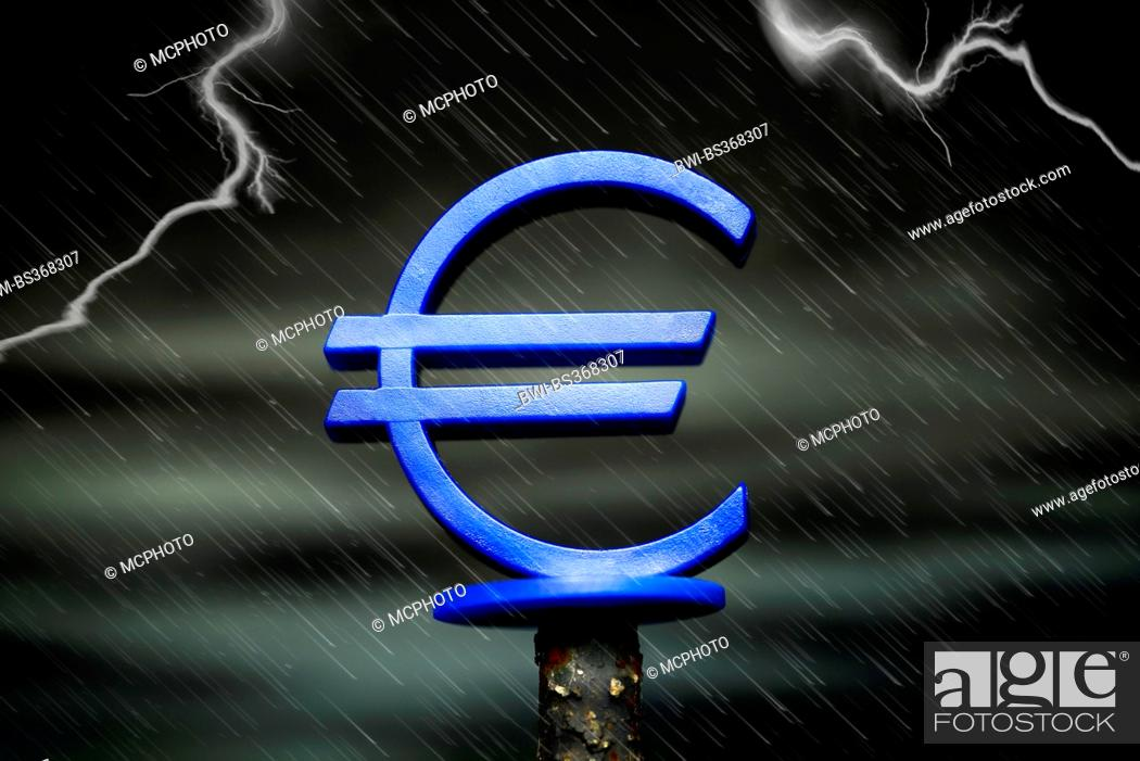 Euro Symbo In Rain Symbol Euro Crisis Stock Photo Picture And