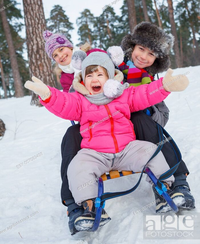 Stock Photo: Children on sleds in snow forest. Vertical view.