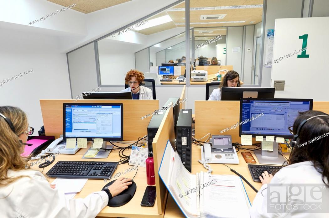 Stock Photo: ICC, Integrated Call Center, CIAT, Centro Integrado de Atención Telefónica, Hospital Donostia, San Sebastian, Gipuzkoa, Basque Country, Spain.