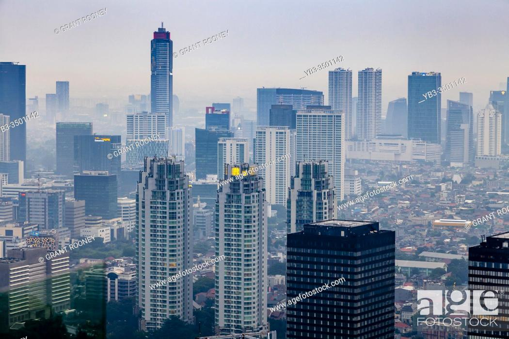 Stock Photo: An Elevated View Of The Jakarta Skyline, Jakarta, Indonesia.