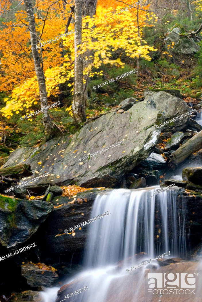 Stock Photo: Waterfalls near Smugglers Notch in the Green Mountains of Vermont, USA.
