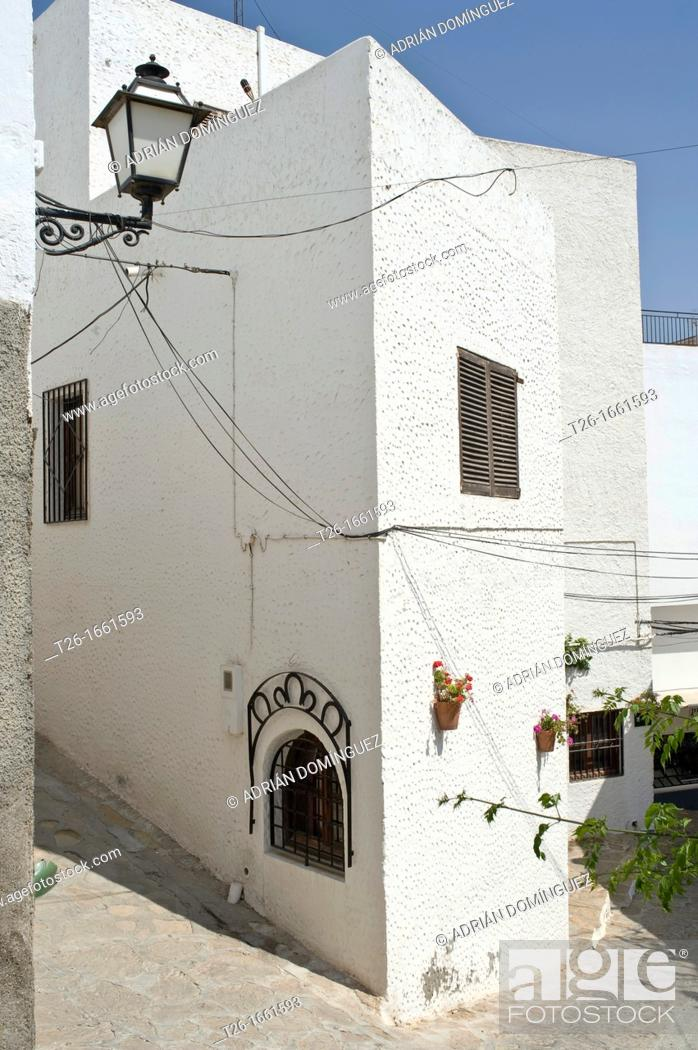 Stock Photo: View of a house in Mojacar town. Almería, Spain.