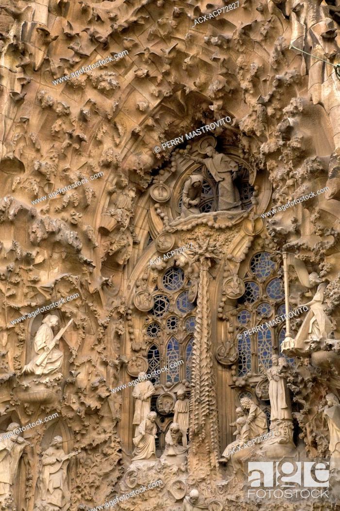 facade of la sagrada familia basilica by the famous architect antoni