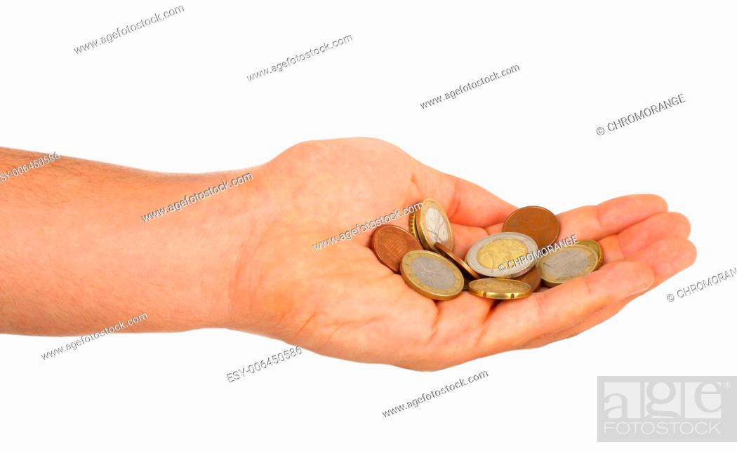 Stock Photo: Small euro change in male hand isolated on white.