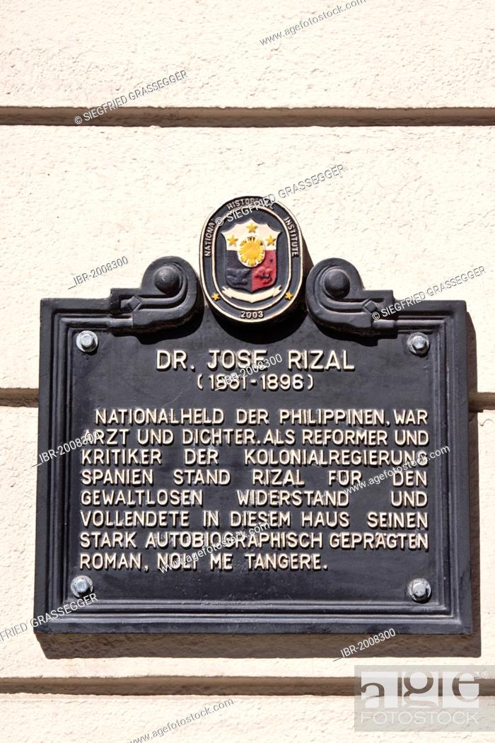 Stock Photo: Memorial plaque dedicated to Dr. Jose Rizal, 1861 - 1896, a Philippine national hero, doctor, poet, critic, author, Berlin, Germany, Europe.