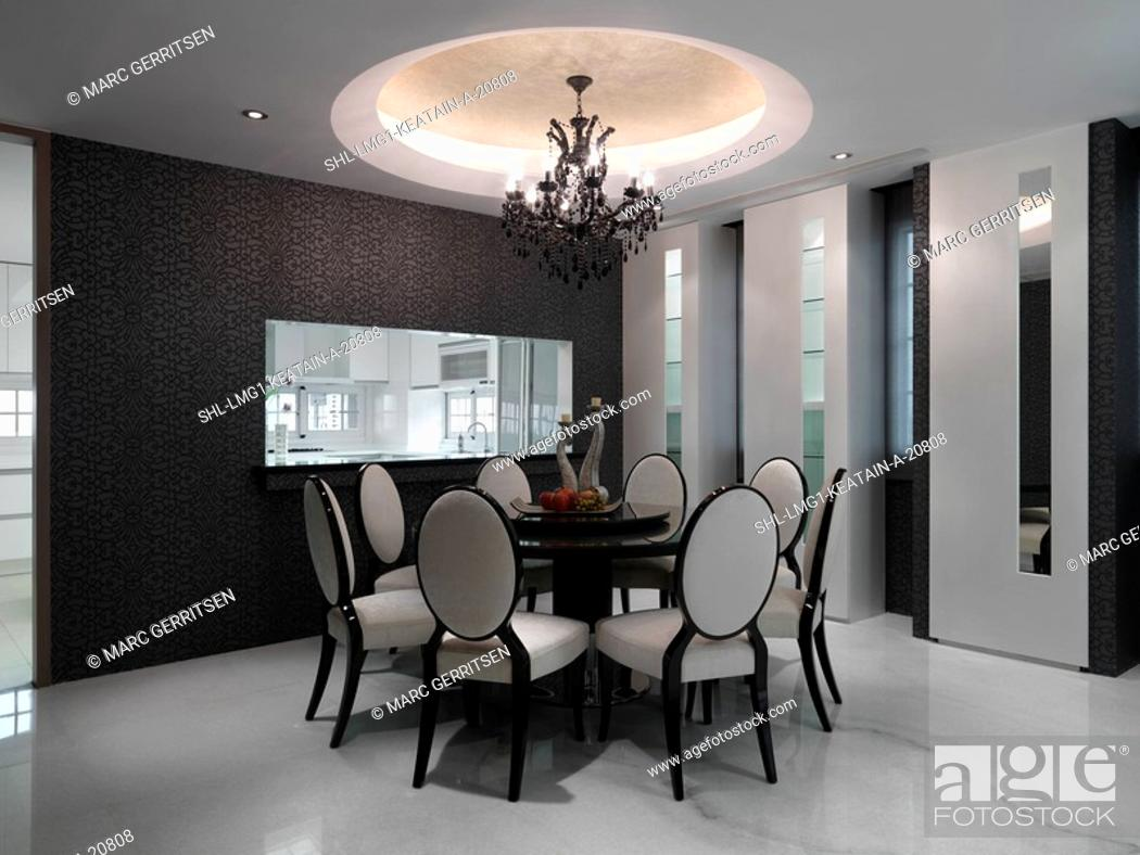 Elegant Dining Room With Circular Table Stock Photo Picture