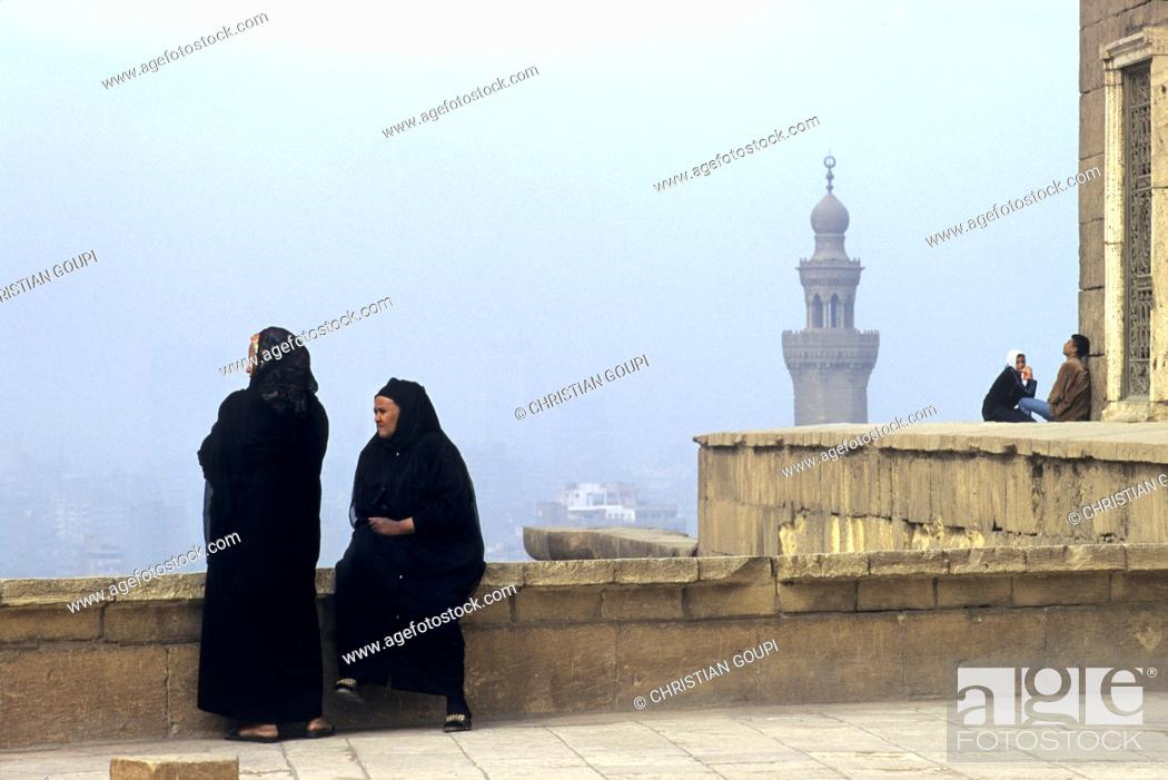 Stock Photo: two old woman on a terrace of the Saladin Citadel, Cairo, Egypt, Africa.