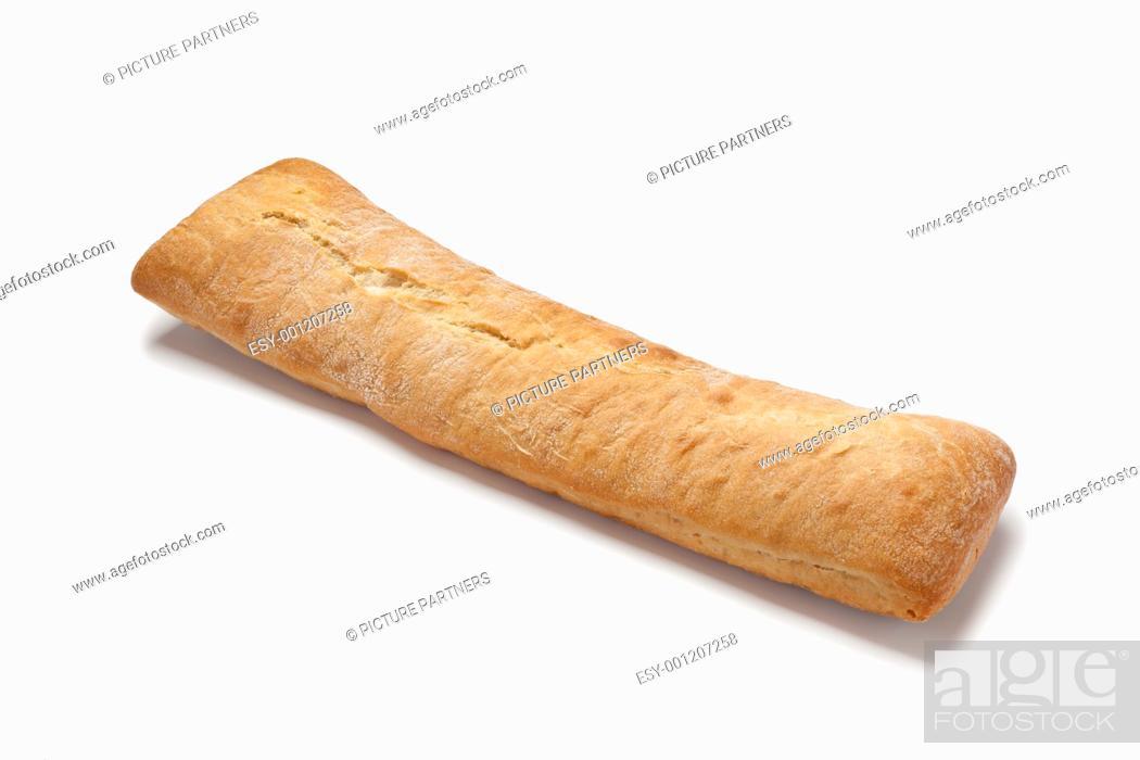 Stock Photo: Loaf of fresh ciabatta on white background.