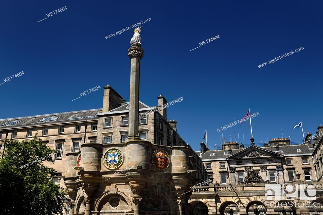 Stock Photo: Mercat Cross with Royal Unicorn and heraldic medalions in Old Town of Edinburgh in Parliament Square on Royal Mile Scotland United Kingdom.