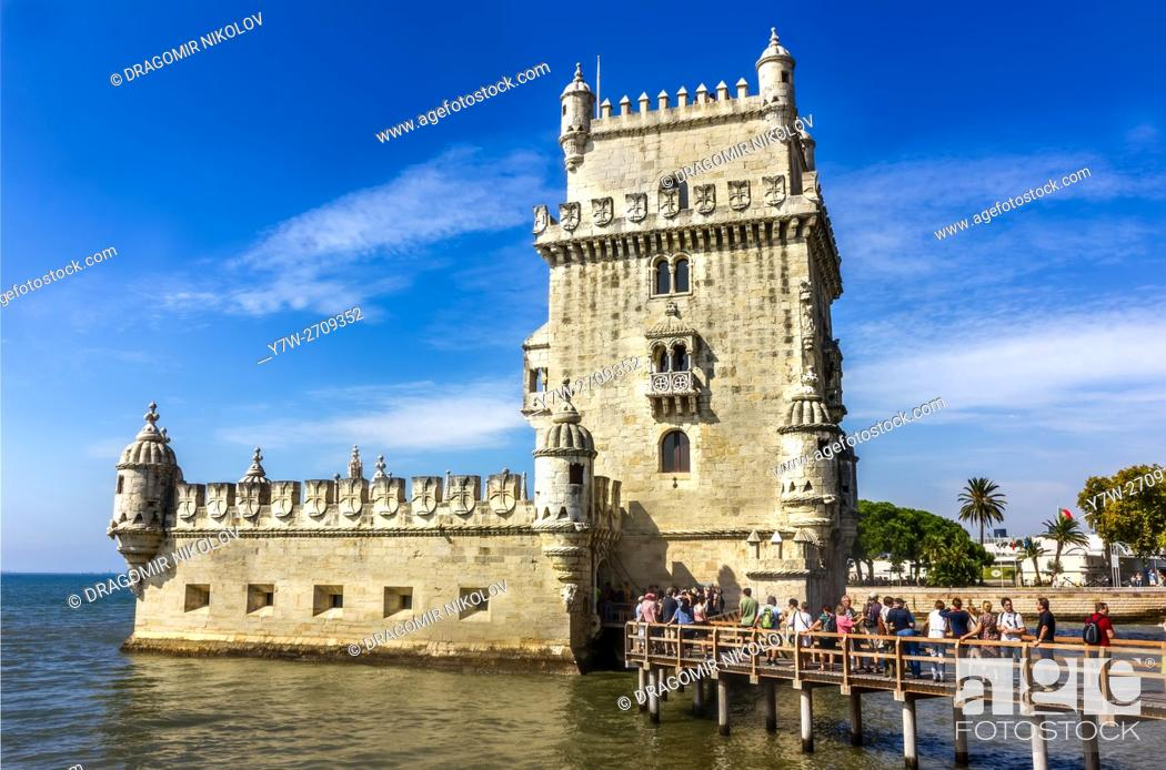 Stock Photo: View of Belem Tower on the Tagus River. It is situated in Lisbon, Portugal.