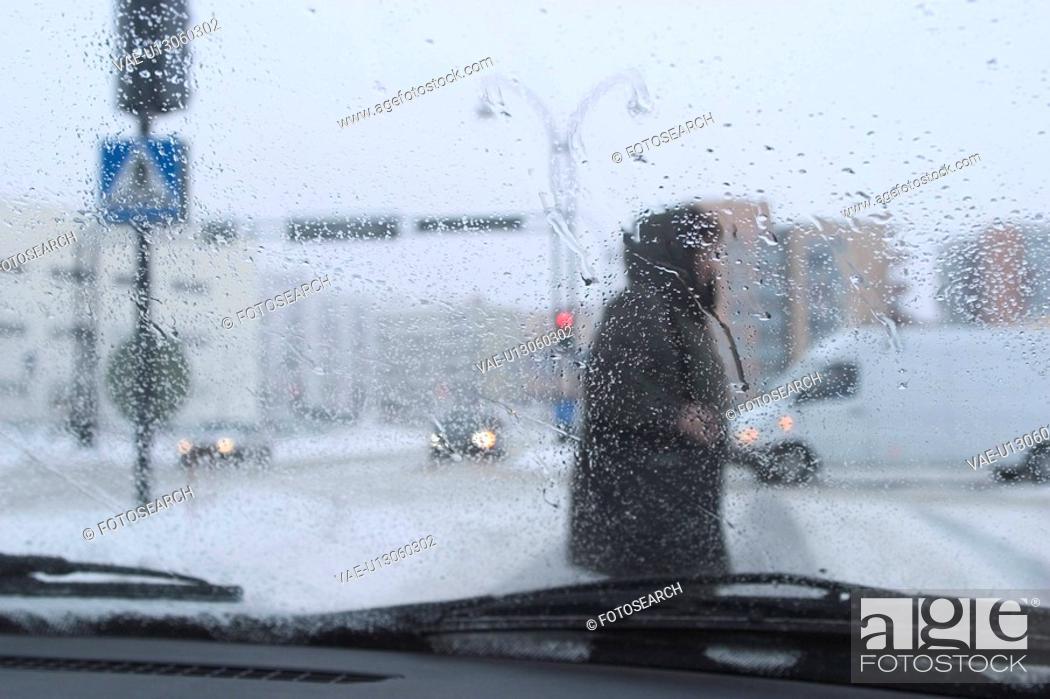 Stock Photo: rainy day, roadside, cars, van, transportation.