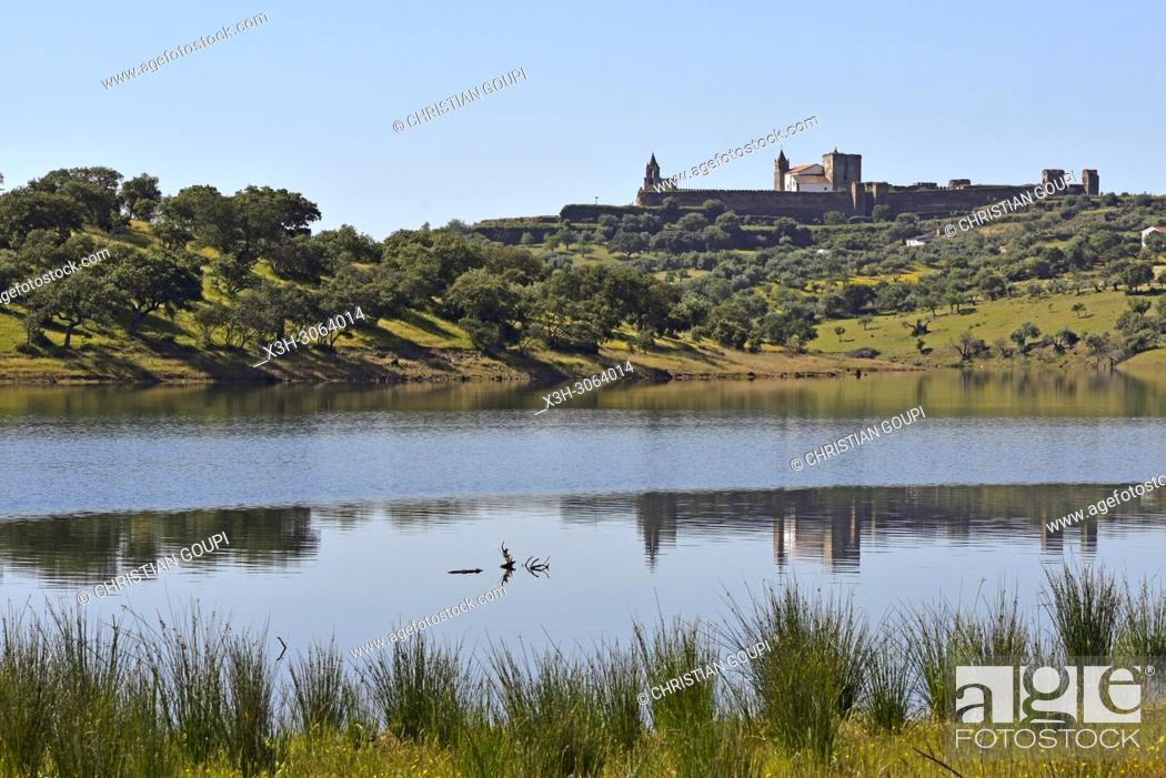 Stock Photo: banks of the dam lake of Alqueva on the Guadiana River near Mourao, Reguengos de Monsaraz, Alentejo region, Portugal, southwertern Europe.