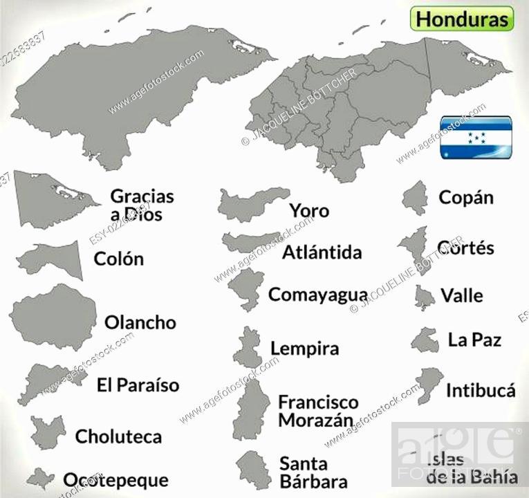 Stock Vector: Karte von Honduras mit Grenzen in Grau.