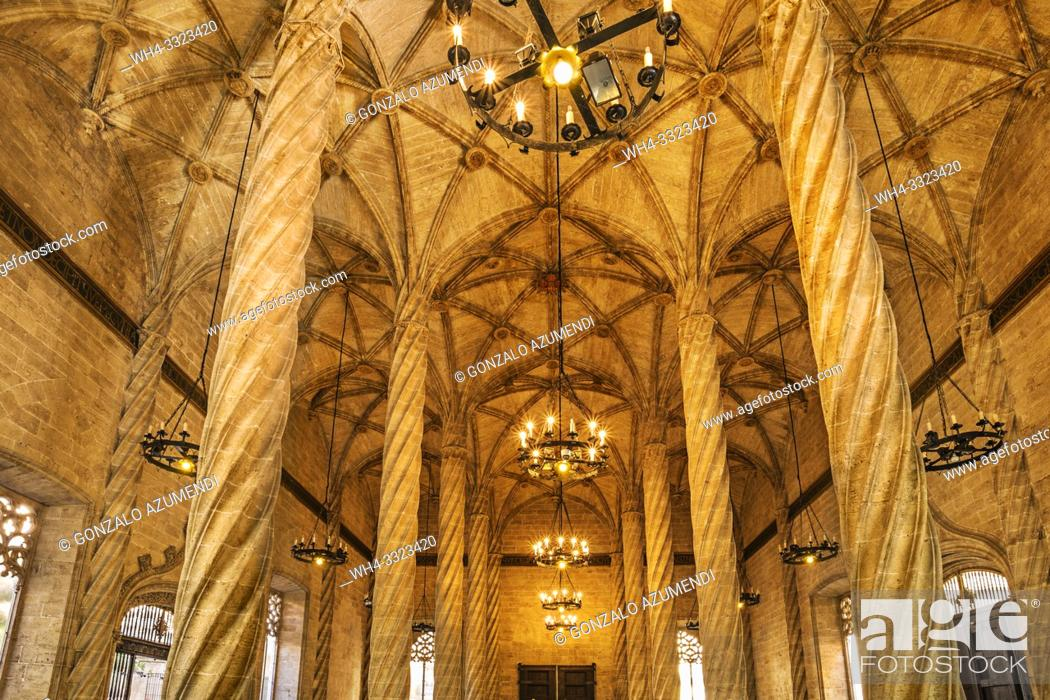 Stock Photo: La Lonja de la Seda. Silk market. World Heritage Site by UNESCO. 16th century. Valencia. Comunidad Valenciana. Spain.