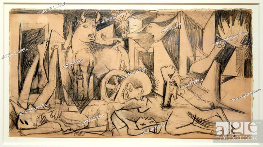 """Stock Photo: """"""""""""'Étude de composition (VII). Dessin préparatoire pour """"""""Guernica"""""""", 1937, Pablo Picasso, 1881-1973, Musée de l'Armée, Paris, France."""
