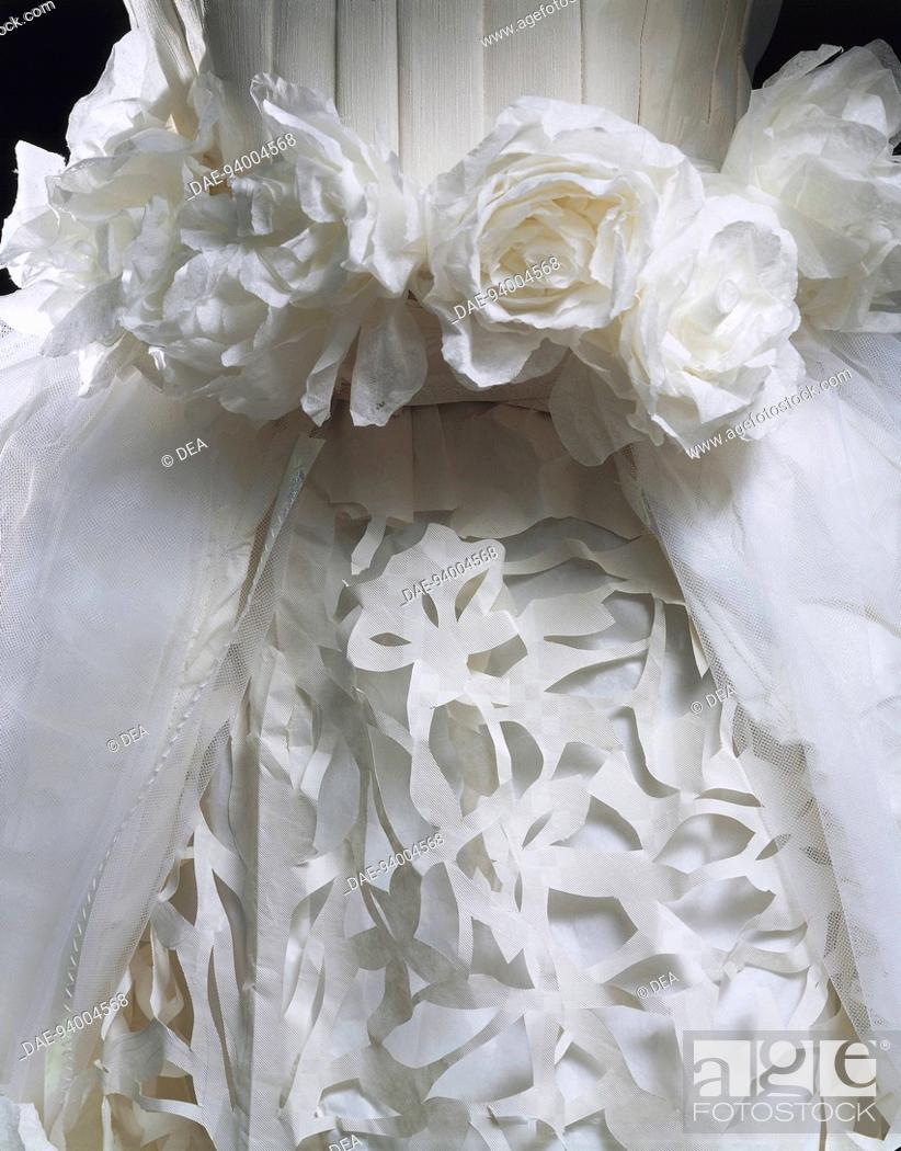 Fashion Italy 20th Century Paper Wedding Dress Made In Tissue
