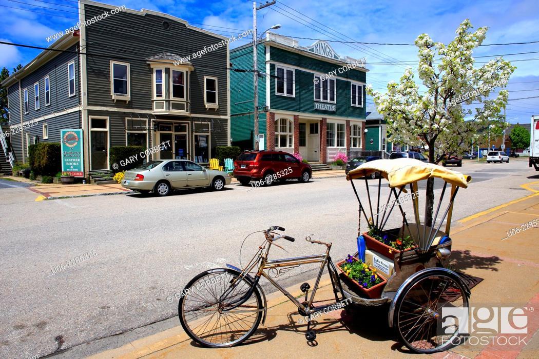 Stock Photo: The downtown main street of Annapolis Royal, Nova Scotia, Canada.