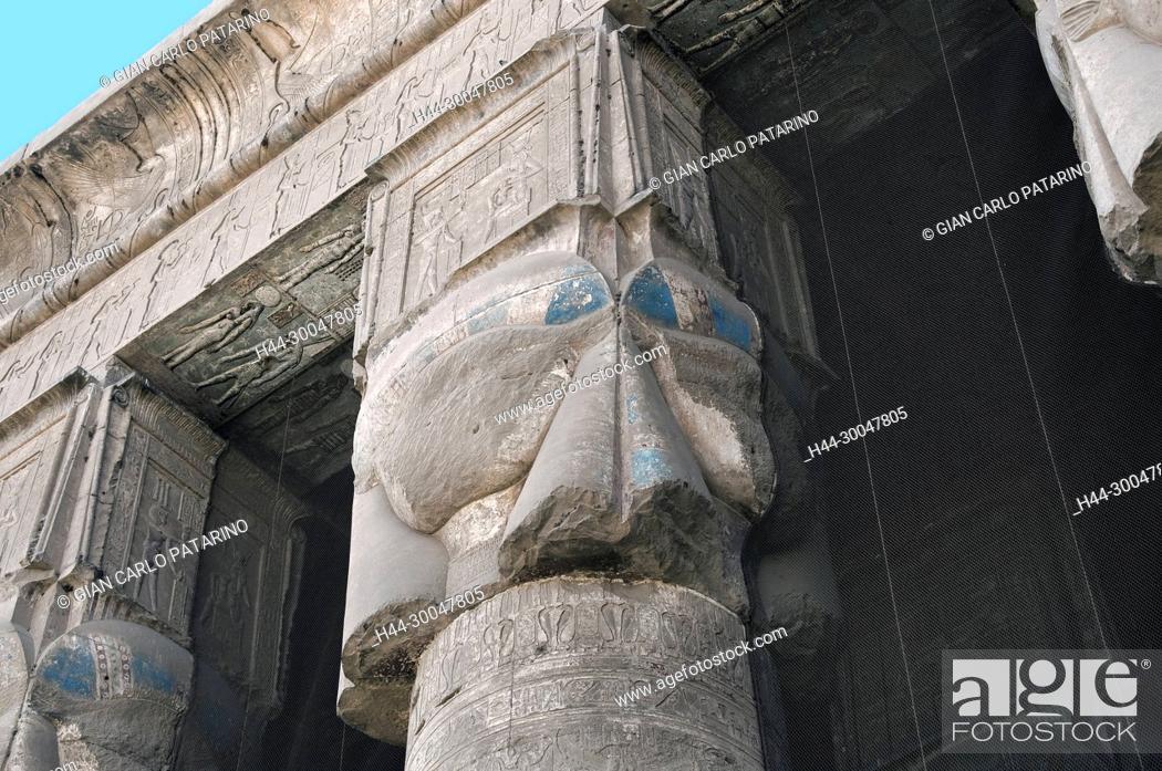 Stock Photo: Dendera Egypt, ptolemaic temple dedicated to the goddess Hathor: erased hathoric columns.