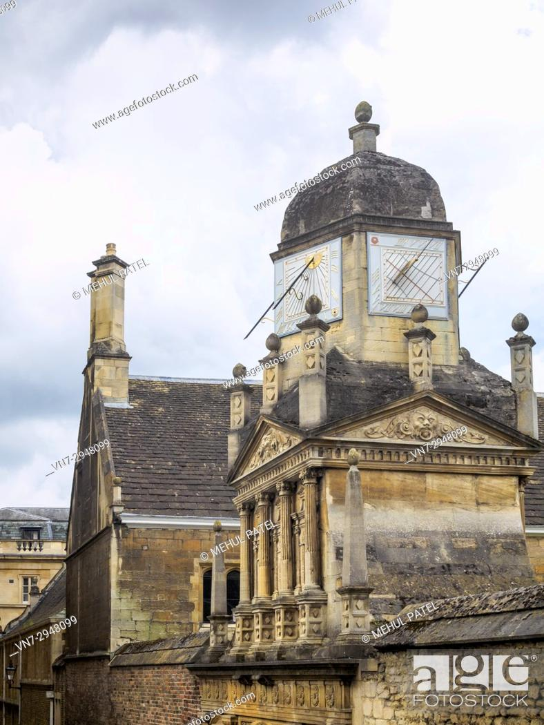 Stock Photo: Sundials above the Gate of Honour at Gonville & Caius College, University of, Cambridge, England, UK.
