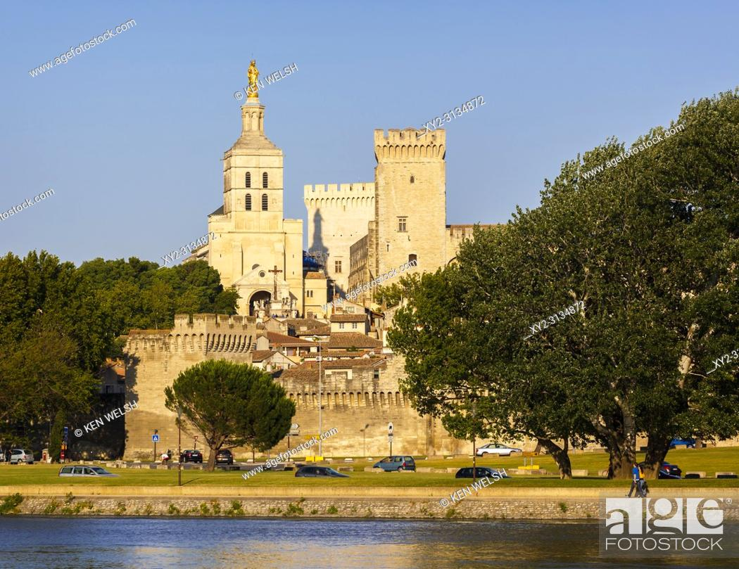 Imagen: Avignon, Provence-Alpes-Côte d'Azur, France. Palais des Papes. Palace of the Popes seen across the Rhône river. The historic centre of Avignon is a UNESCO World.