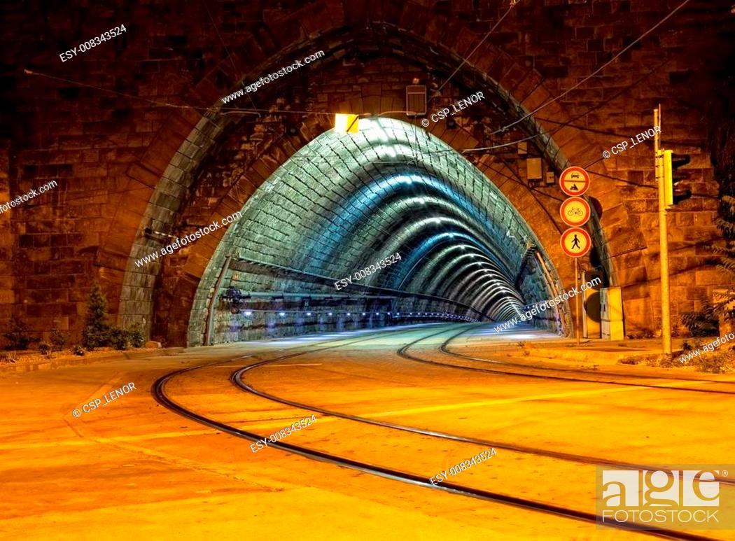 Stock Photo: Empty tunnel for the city tram.