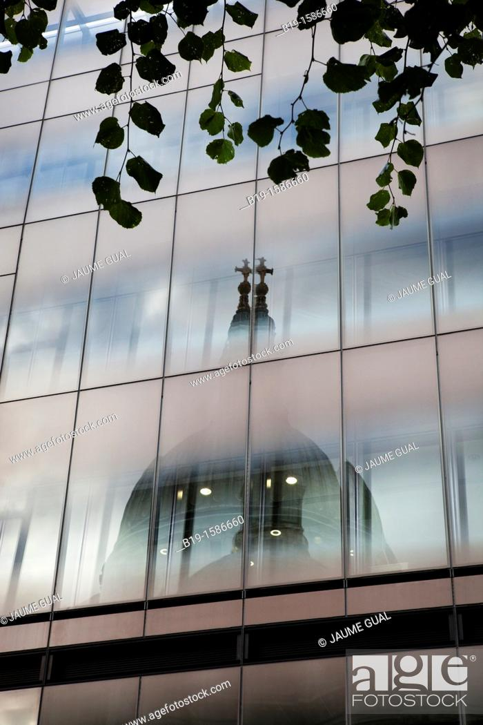 Stock Photo: Saint Paul's Cathedral reflected in a glass building, London, England, United Kingdom, Europe.