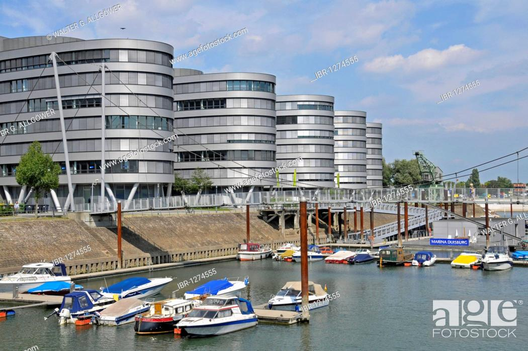 Stock Photo: Five Boats office building and the first height-adjustable suspension bridge in the world, Inner Harbour, Duisburg, North Rhine-Westphalia, Germany, Europe.