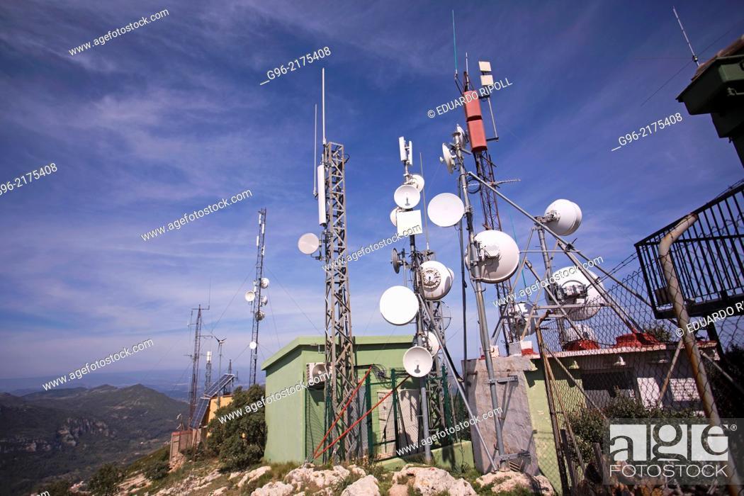 Stock Photo: Telecommunication antennas on the peak Monduver, Valencia.