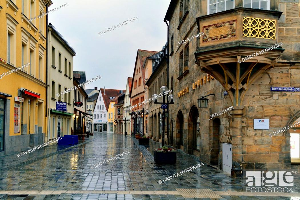 Stock Photo: Facades of historic townhouses in the evening, Sophienstrasse seen from Maximilianstrasse, Bayreuth, capital of Upper Franconia, Bavaria, Bayern, Germany.