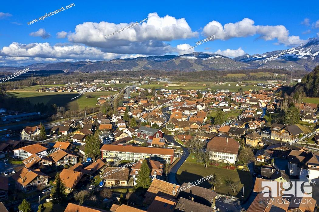 Stock Photo: Municipality of Wimmis, Frutigen-Niedersimmental administrative district, canton of Bern, Switzerland.