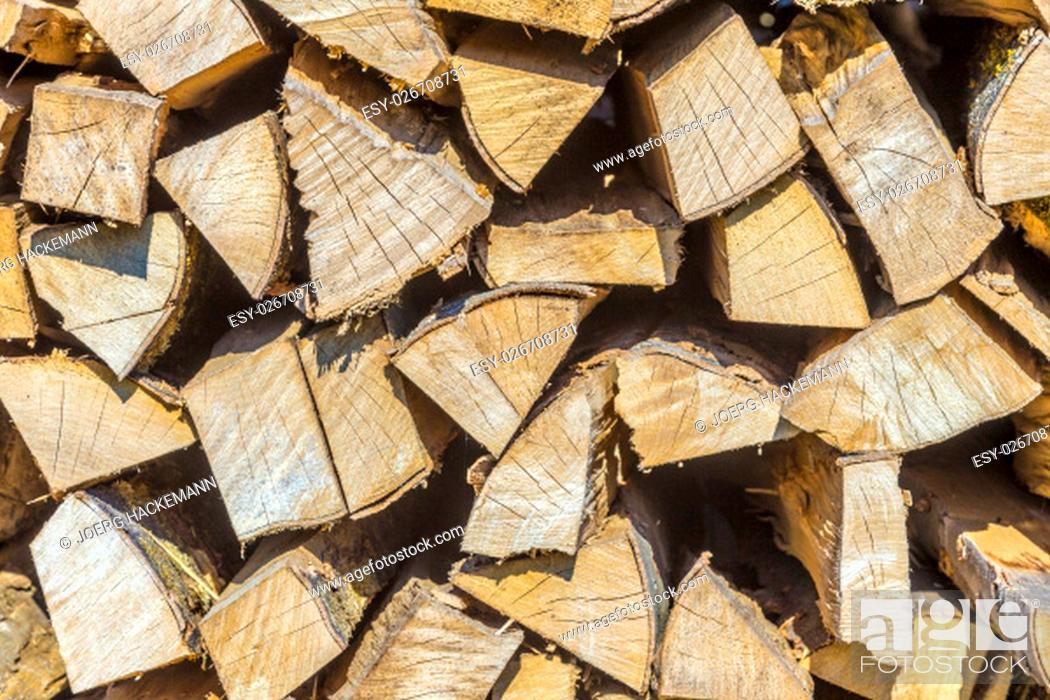 Imagen: detail of stapled fire wood in the forest.