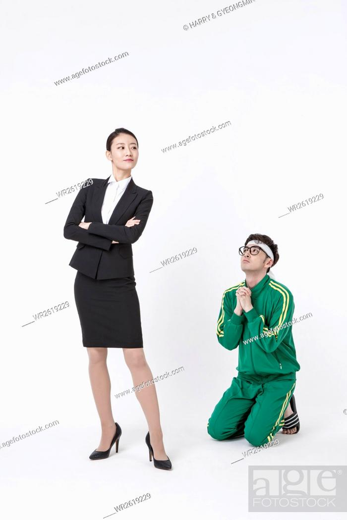 Photo de stock: Young businesswoman and young male NEET.