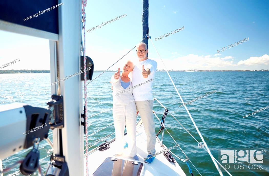 sailing, age, tourism, travel and people concept - happy