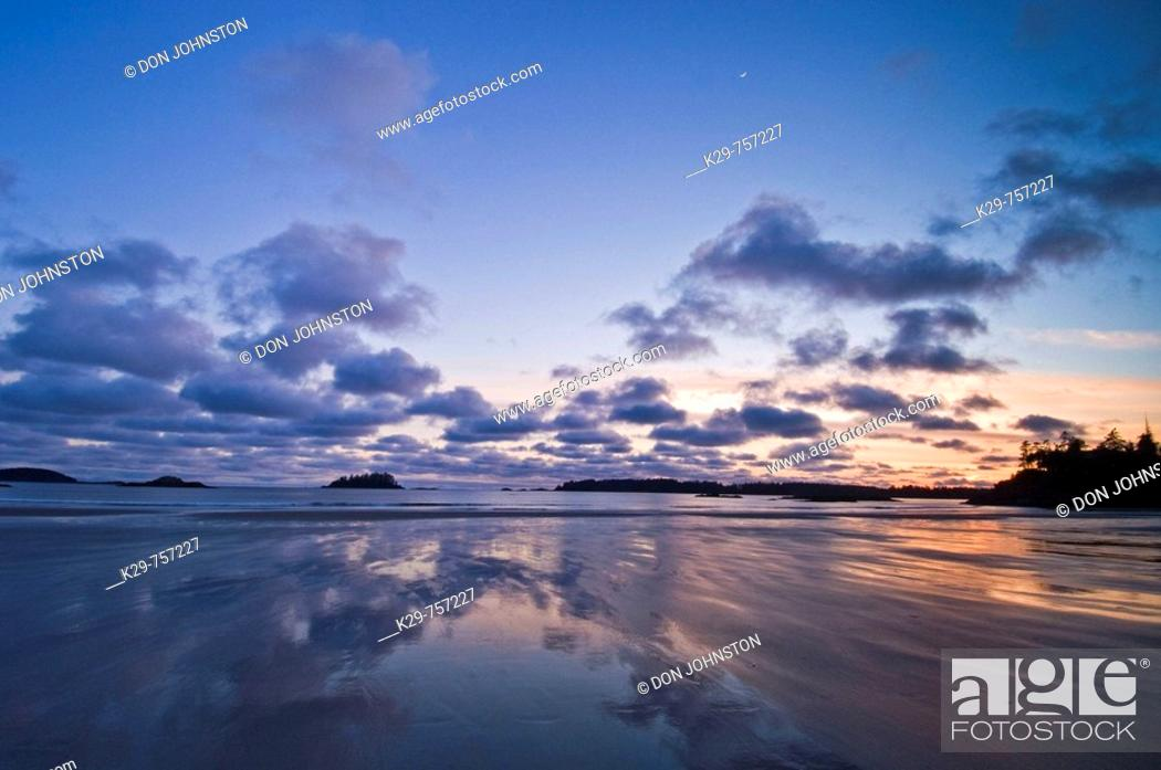 Stock Photo: Pacific Rim sunset- MacKenzie Beach and outer islands at ebbing tide.