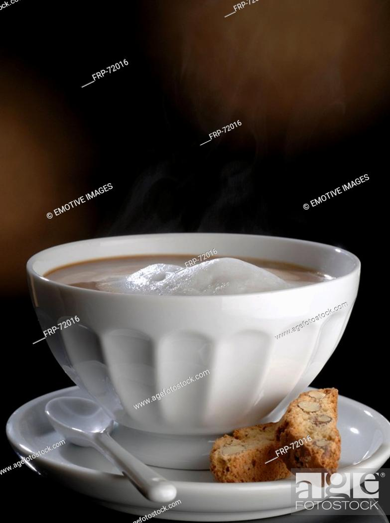 Stock Photo: Café au lait with cantuccini.