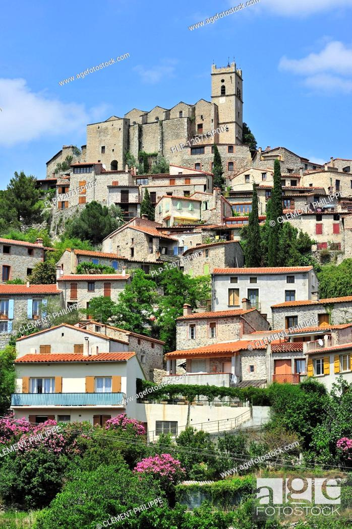 Stock Photo: View over the village Eus in the Pyrénées-Orientales, Languedoc-Roussillon, Pyrenees, France.