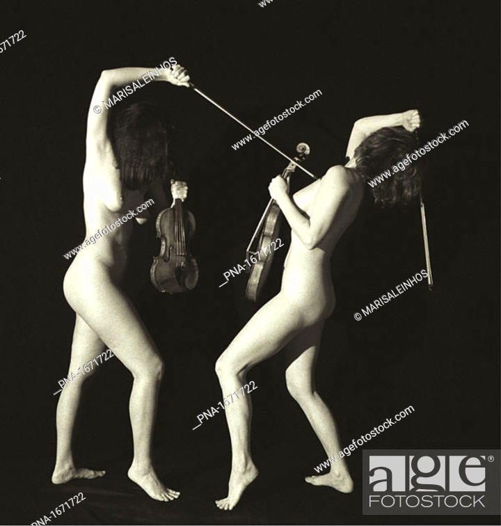 Stock Photo: Duel between two nude female violin players.