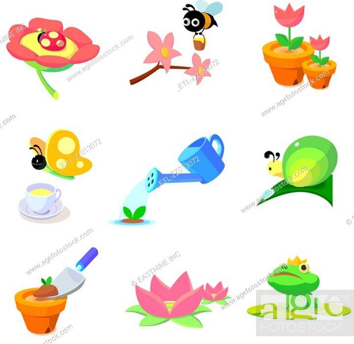 Stock Photo: Flowers and animals found in garden.