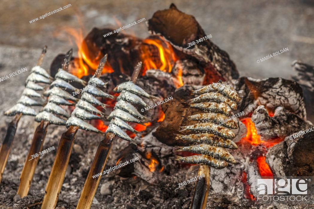 Stock Photo: sardines skewed, Spain.