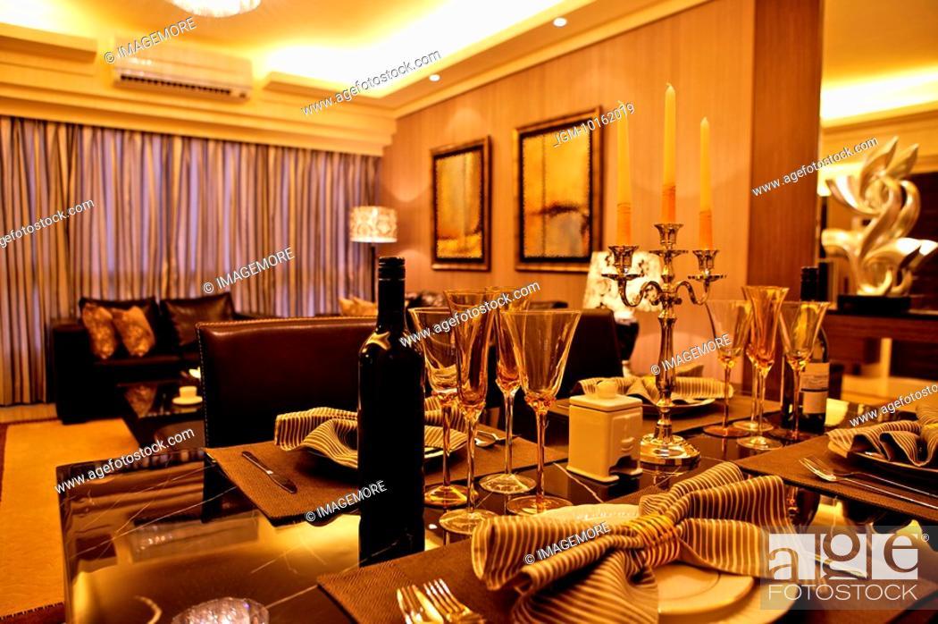 Stock Photo: Modern Interior Design - Dining Room & Living Room.