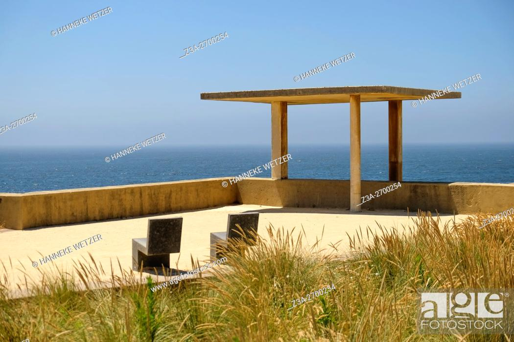 Stock Photo: Chairs with a view on Porto Beach Castelo do Queijo in Porto, Portugal.