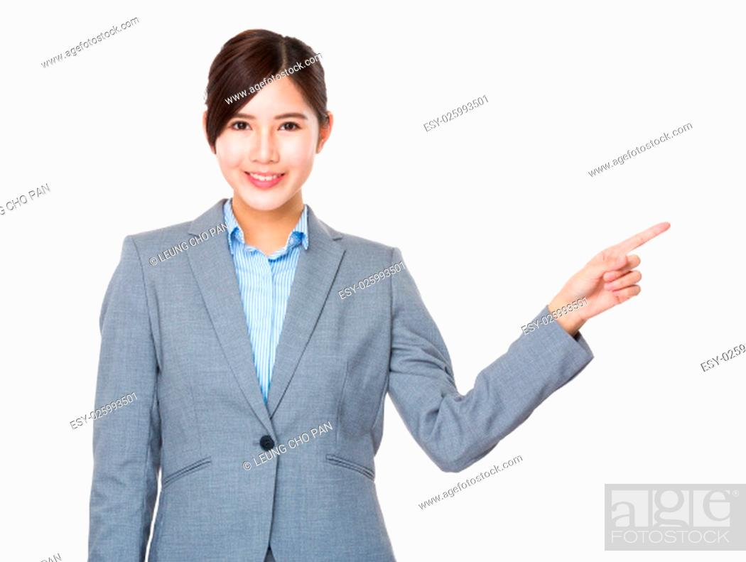 Stock Photo: Businesswoman with finger point aisde.